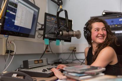 Student working at Radio X
