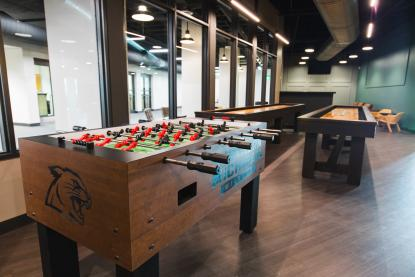 foosball table at the den