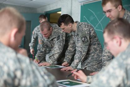 ROTC Students at a mock briefing