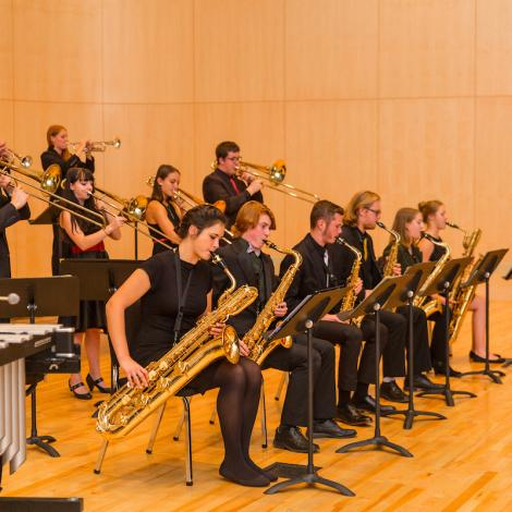 photo of jazz ensemble and conductor