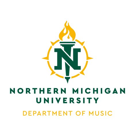 "NMU logo with ""department of music"" underneath"