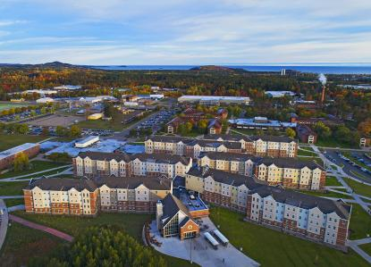 Aerial photo of NMU's residence hall complex, The Woods