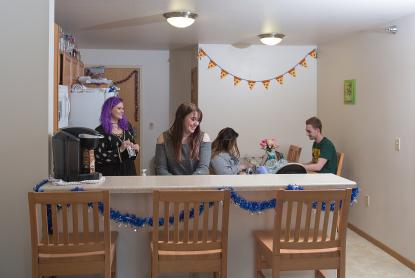 Students in on-campus apartments