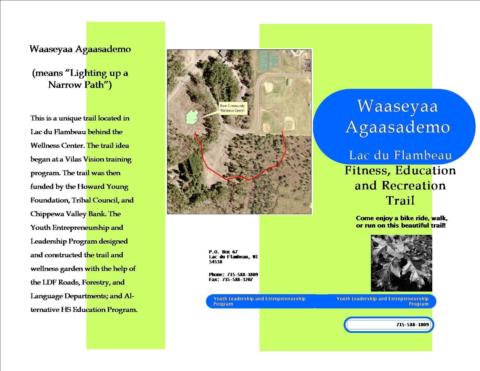 Waaseyaa Lac Du Flambeau Fitness, Education And Recreation Trail Brochure  ...