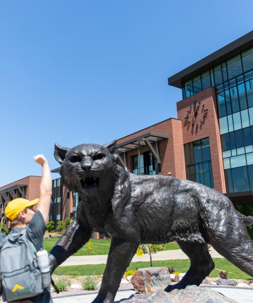 Orientation Student at Wildcat Statue