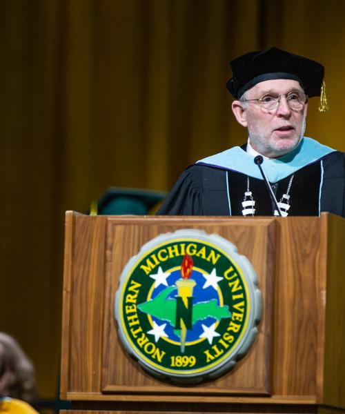 NMU President Fritz Erickson at Commencement