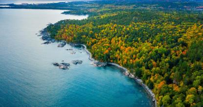 Aerial photo of Marquette's lake shore in the fall