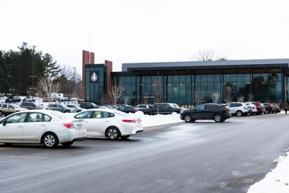 Exterior of the Northern Center parking lot in winter