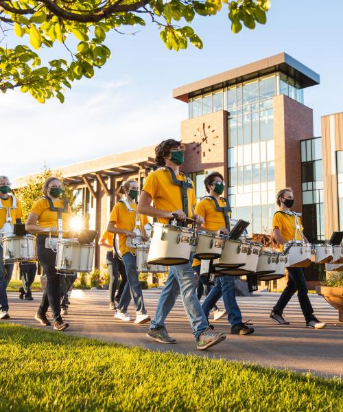 NMU Marching Band in Masks