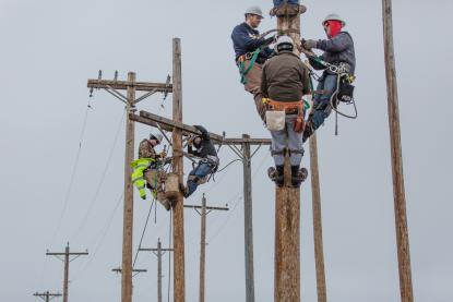 Electrical line tech students