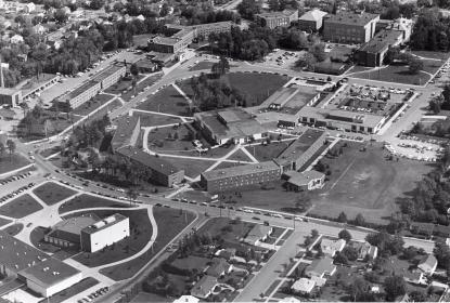 bw aerial of campus
