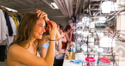 Behind the scenes makeup at a FRT production